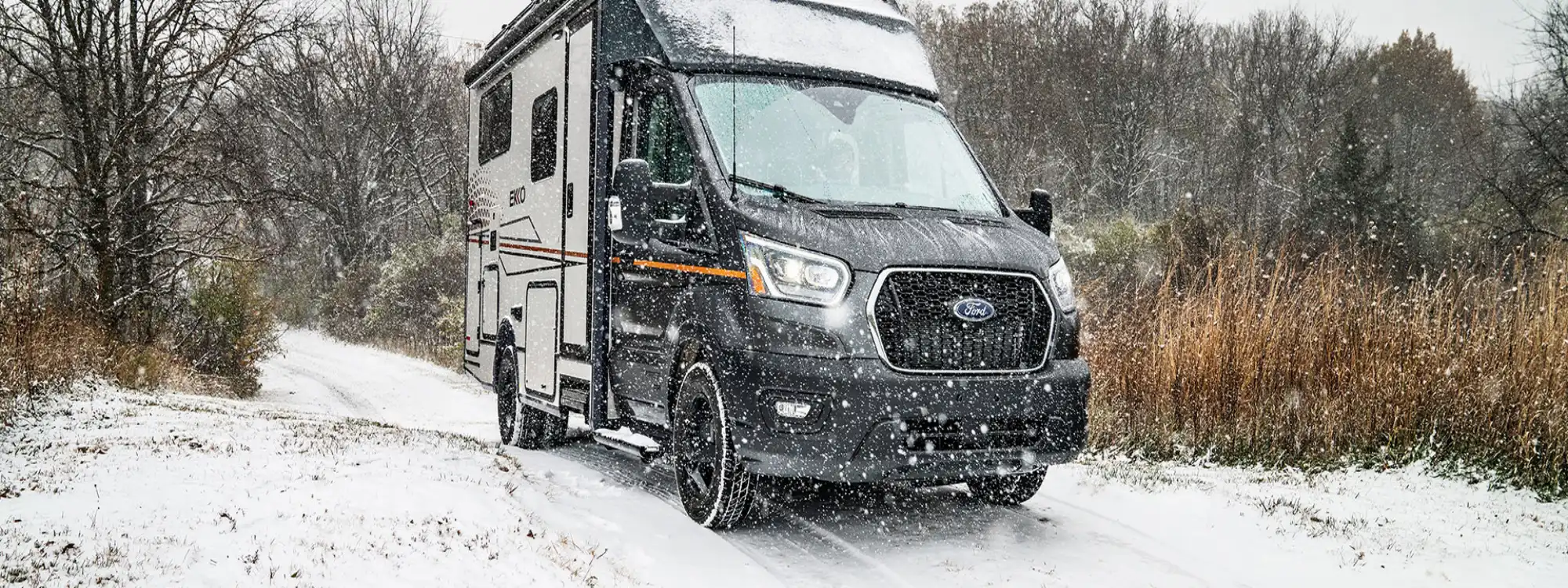 best winnebago campers ekko driving thorough snow