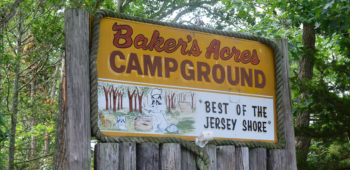 best campgrounds on the jersey shore - bakers acres campground sign