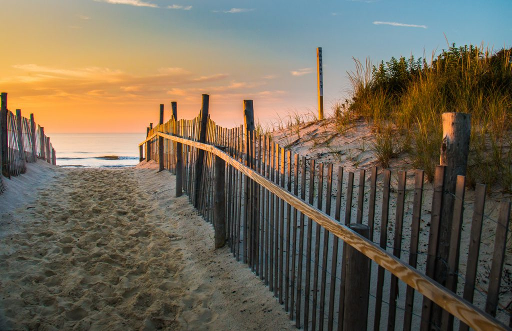 best campgrounds by the jersey shore - Sunrise glows at the Atlantic seashore at Marine St. in Beach Haven, New Jersey