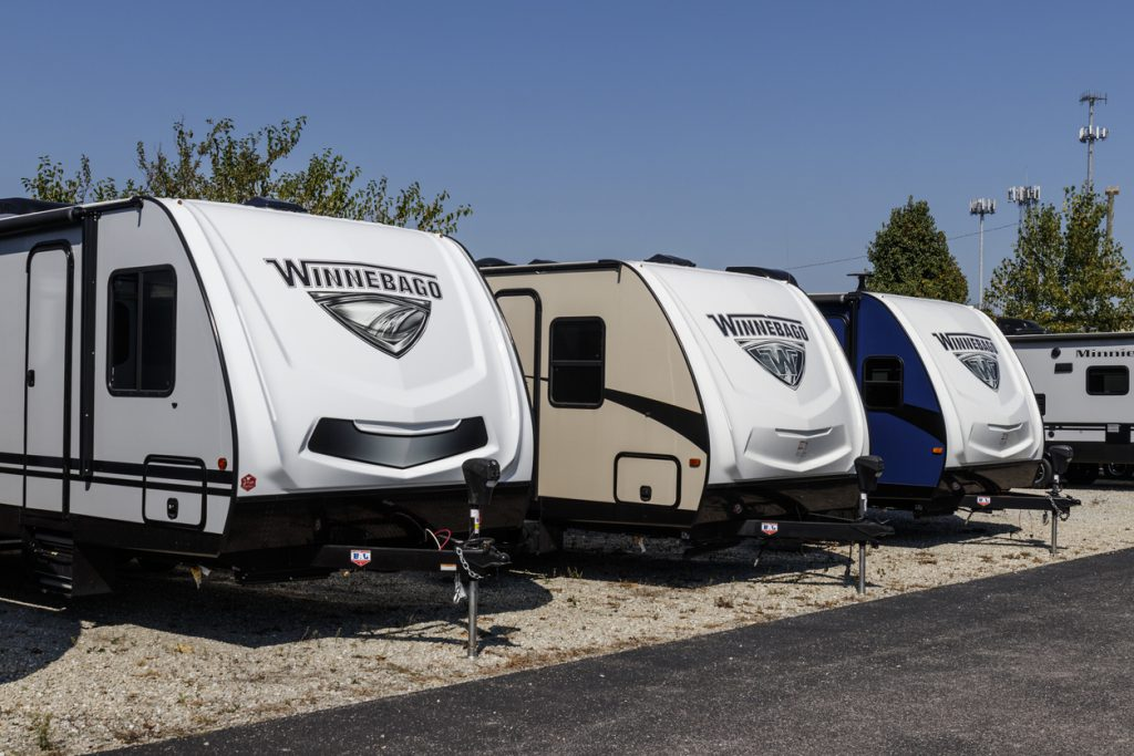 RV Types - Indianapolis - Circa September 2019: Winnebago Recreational Vehicles at a dealership. Winnebago is a manufacturer of RV and motorhome vacation vehicles