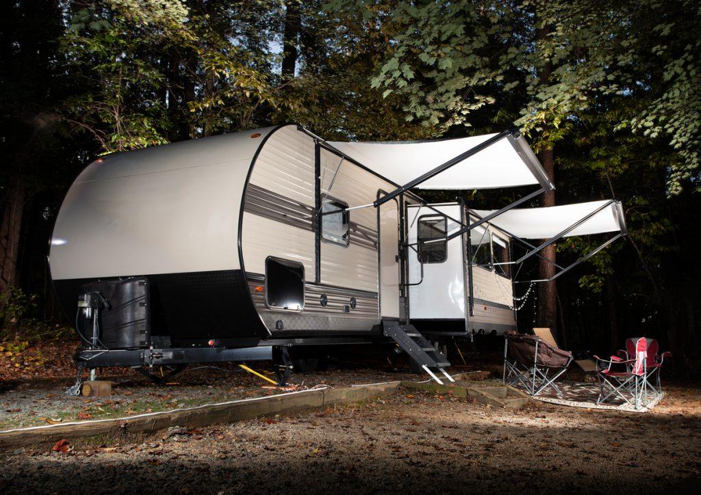 Early autumn travel trailer came at Falls Lake North Carolina
