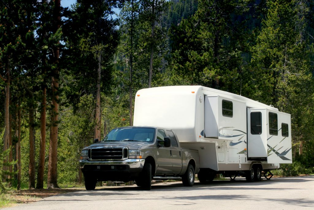 a fifth wheel in yellowstone national park