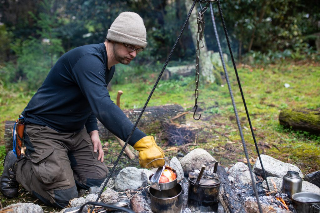 Dutch Oven Campfire supplies - Traditional camp cooking in a pot over hot coals of a fire pit.