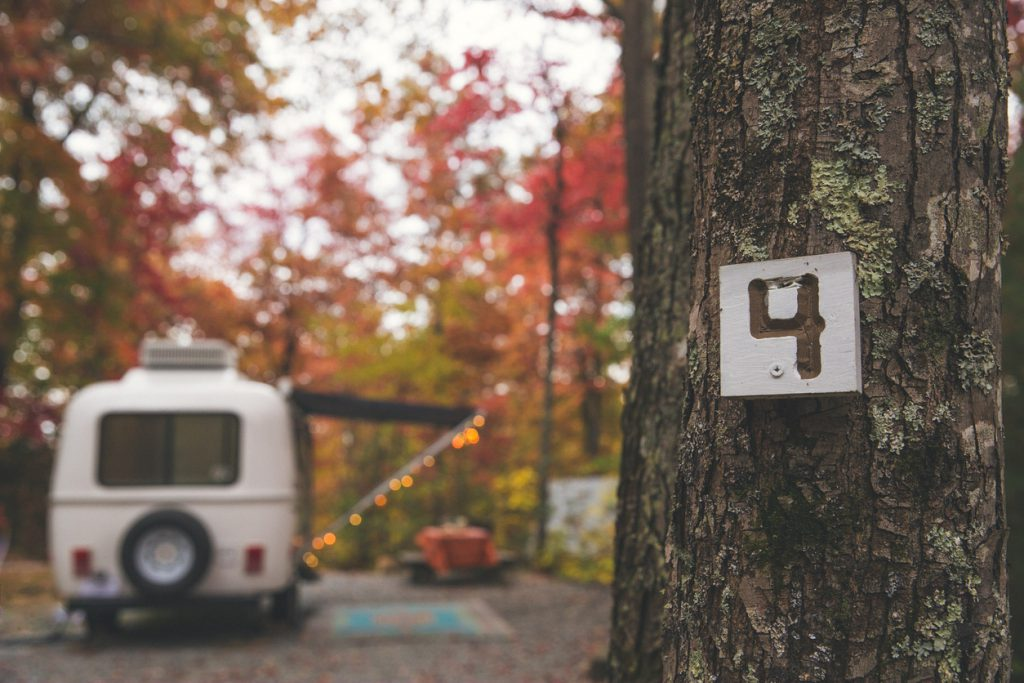 RV Security - Camper camping at RV park in autumn in North Carolina Blue Ridge Mountains outside of Asheville.