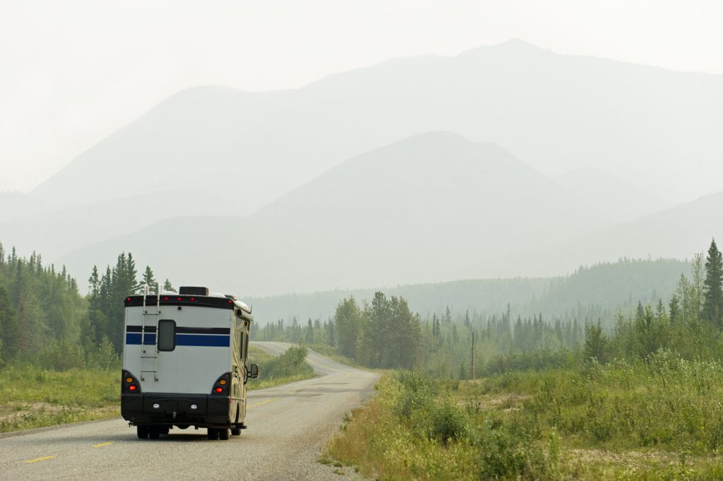 RV myths busted - RV driving the Alaska highway in the Yukon, Territory